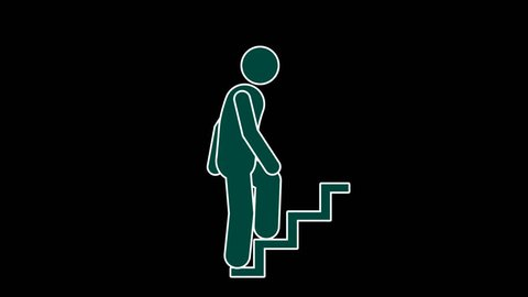infographic pictograms stick figure walking up looped animation with alpha channel