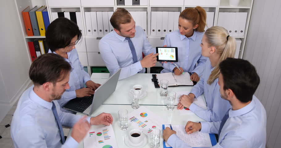 Big Group of Business People Applauding Good Results Pie Chart Sales Boardroom | Shutterstock HD Video #32069482