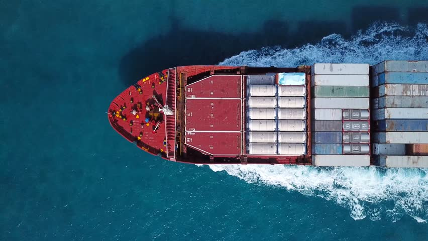 Large container ship at sea - Top down Aerial  | Shutterstock HD Video #32074804
