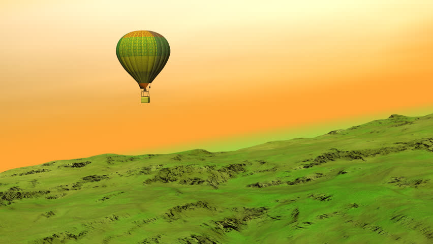 Balloon flying upon the hill - 3D render
