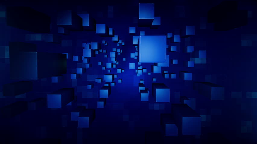 Cubes Looping Blue Background Broadcast News Stock Footage Video