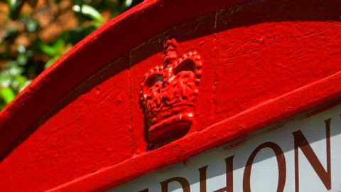 4K Royal Crown Close Up, Red Telephone Booth Box Traditional English Phone Booth