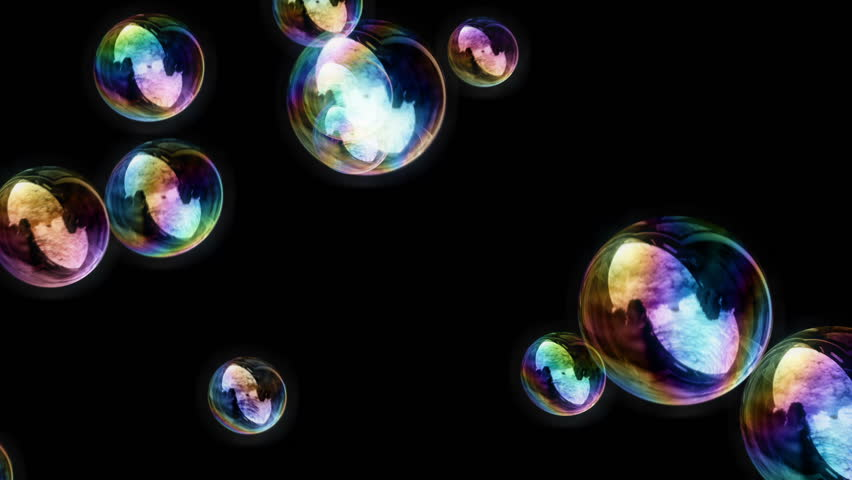 Soap Bubbles / Black Background - Calm Video Background Loop /// Soap Bubbles. Lots of them. Rendered in front of a black background, so this video loop can be used in conjunction with a projector. #3211912