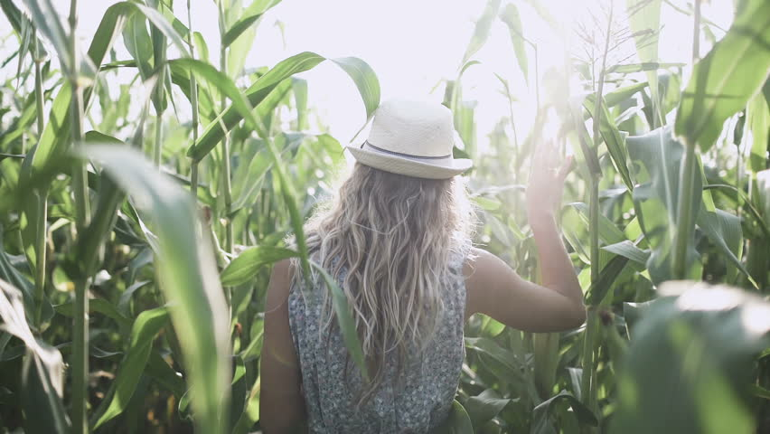 beautiful girl in hat running and smiling in corn field slow motion