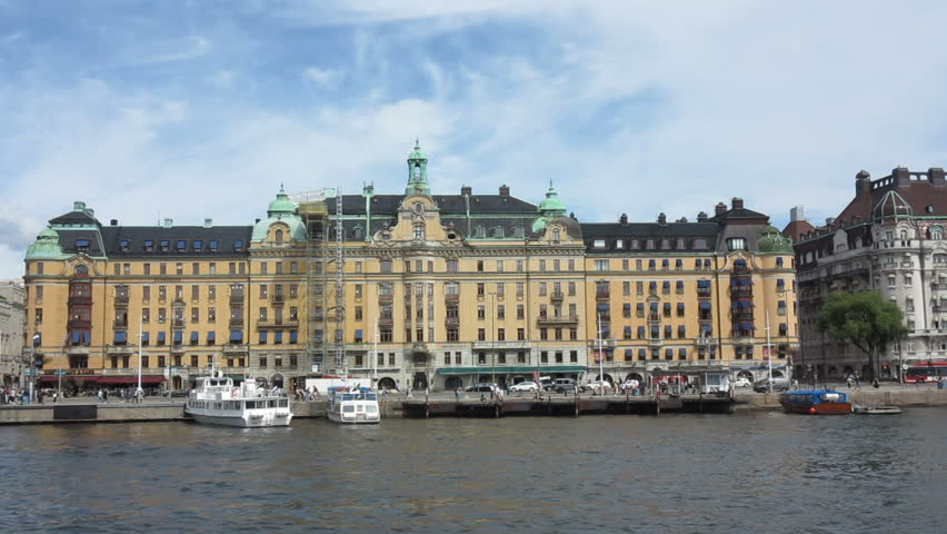 Stockholm Sweden July 2017 The Grand Hotel On Waterfront Hd Stock Video