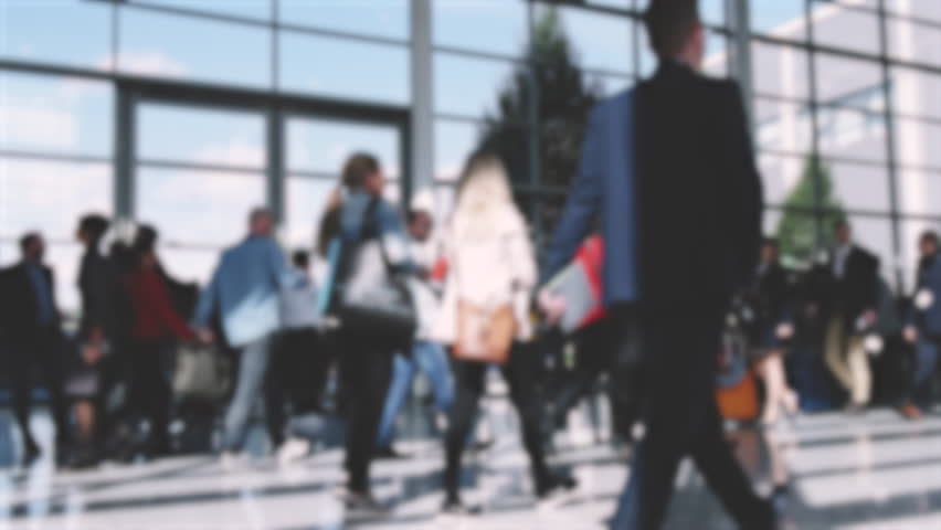 Trade fair visitors in a modern hall | Shutterstock HD Video #32248846