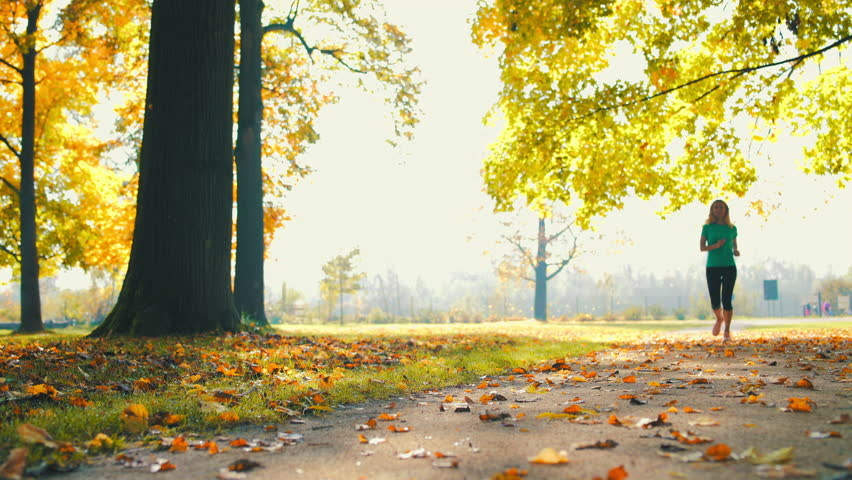 Six Half-Naked Young Men Run In Forest At Autumn Sunny Day Stock Footage Video -2921