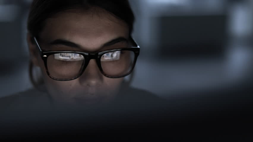 Young woman working computer long hours #32262892