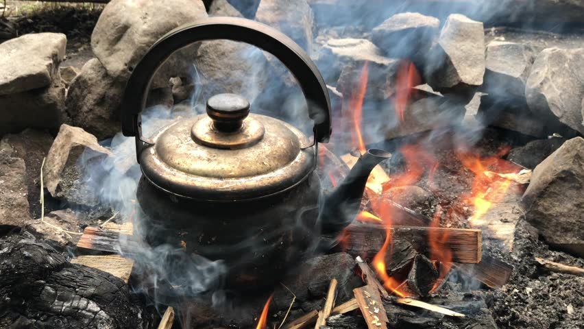 Kettle Smoke Flying Ashes Fire Arms Boiling Log Steam Camping Burning Hiking Camp Woods