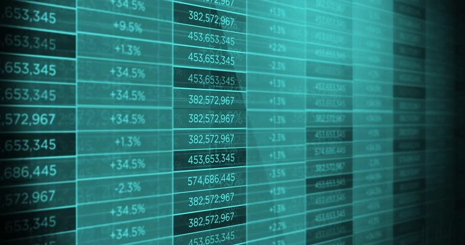 Generic modern futuristic stock market ticker exchange board - Blue
