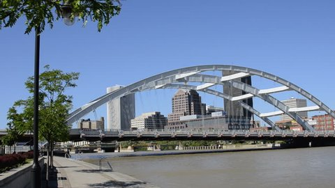 Rochester New York famous Frederick Douglas and Susan B Anthony Memorial Bridge and the Genessee River with skyline of city