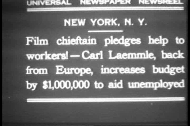 CIRCA 1930s - Upon his return from Europe, Carl Laemmle, filmmaking pioneer, increases the budget by $1,000,000 for aid to the unemployed during the Great Depression, in New York City, 1931. | Shutterstock HD Video #32307712