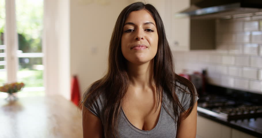 4K Beautiful smiling woman making a video call on computer, seen from webcam's pov | Shutterstock HD Video #32309302