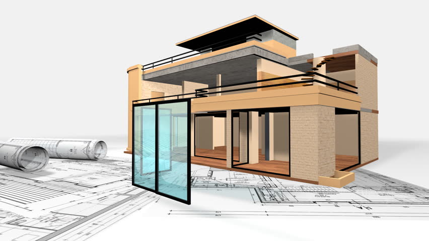 Animation Of A Personal House / Building A House   HD Stock Video Clip