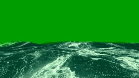 Sea on green screen. Waves and foam of the sea for video editing