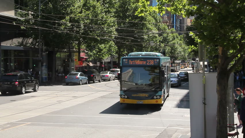MELBOURNE, AUSTRALIA - December 18 2012: Melbourne buses are part of the city's public transport. The bus service is run by fifty different private bus corporations under a franchise from government.