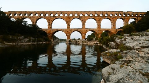 Pont du Gard, World Heritage by UNESCO, Roman aqueduct over Gardon River, Gard, France, Europe.