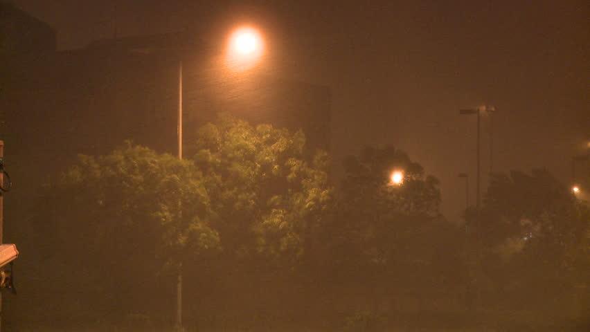Hurricane Eyewall Wind And Rain Lash Down At Night - Shot in full HD 1920x1080