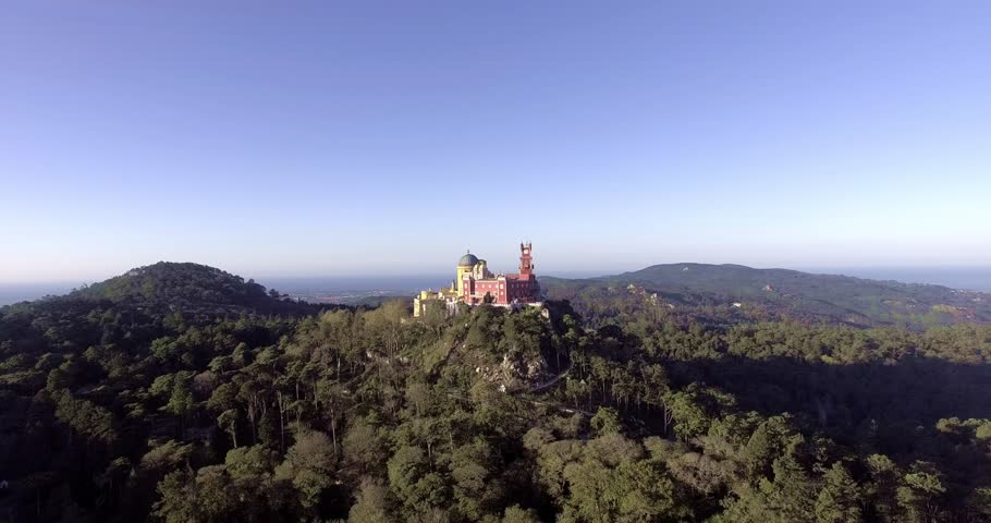 Palácio Nacional da Pena. Beautiful aerial view of the palace of Pena in Sintra, Portugal.