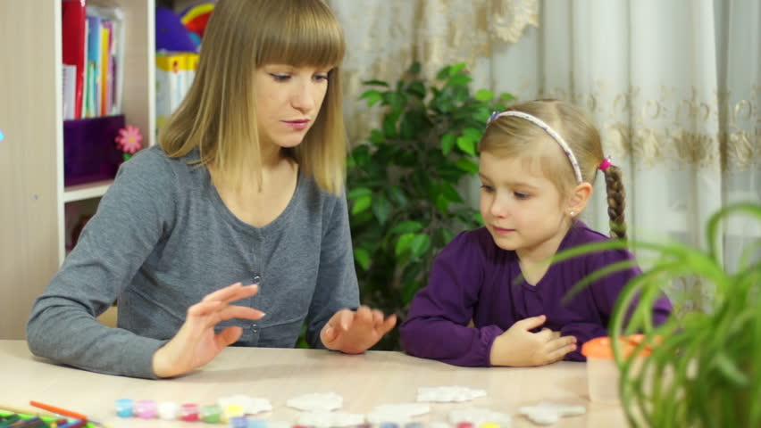 Mother and daughter doing art project | Shutterstock HD Video #3235822
