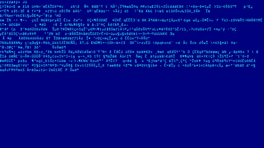 Blue Code Scramble Scans. Full screen saver graphic loop as complex encrypted codes randomly fluctuates on the display.