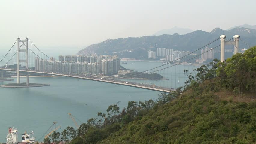 Tsingma suspension bridge in Hong Kong linking Tsingyi with Lantau island. Shot