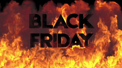 Black friday on fire background.