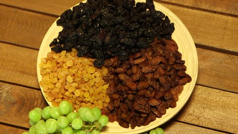 Grape and Various Raisins in a Plate