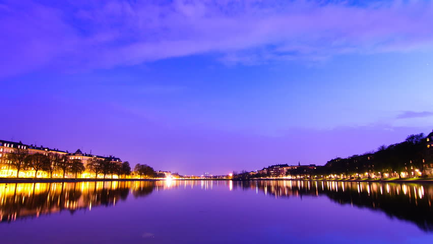 Lakes through Copenhagen. A night time lapse view across one of the 4 lakes that run through the city