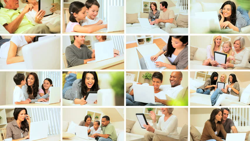 Montage images showing adults & children using modern wireless technology for recreation and communication in the home | Shutterstock HD Video #3239437