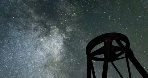 Large Telescope and Night Sky. Astronomical Telescope. Starry Night sky VLT