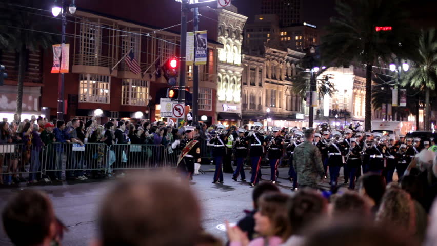 New Orleans, LA - FEBRUARY 18: Soldiers in Marching band for Knights of Hermes Parade on Saturday February 18, 2012 in New Orleans, Louisiana.