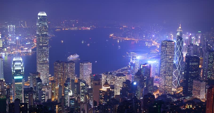 The peak, Hong Kong, 03 November 2017:- Hong Kong skyline at night    Shutterstock HD Video #32450332
