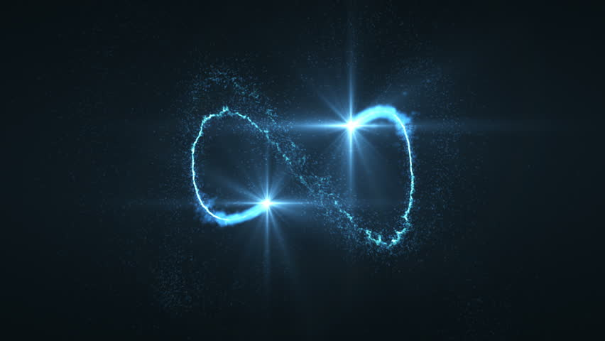 lightning blue ball of light flying in circle animation. Shining lights in motion with small particles. Ring of electricity, Plasma ring on a dark background.