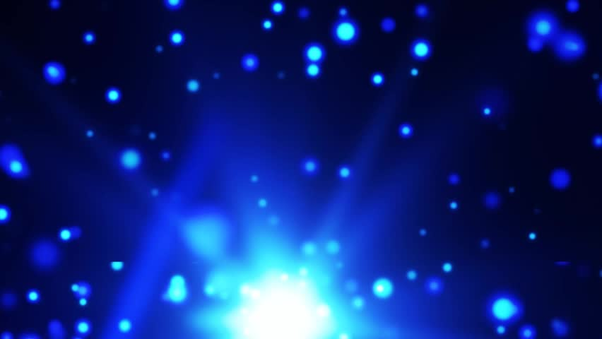 Bright bottom blue light particle rotates with the particles floating up