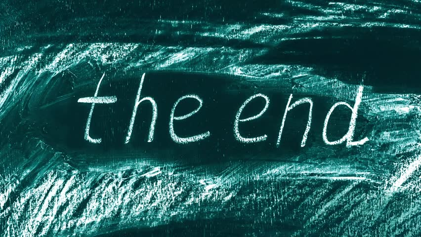 Stop motion animation of hand drawing scribble and lettering The End on green chalkboard.