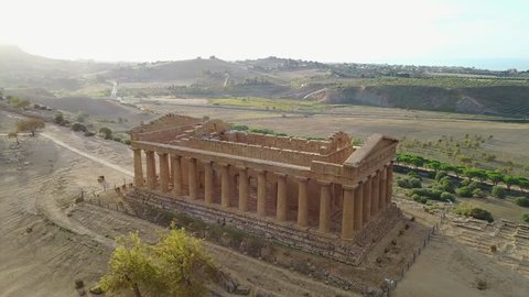 Ancient Greek temple of Concordia (V-VI century BC), Valley of the Temples, Agrigento, Sicily. The area was included in the UNESCO Heritage Site list in 1997.