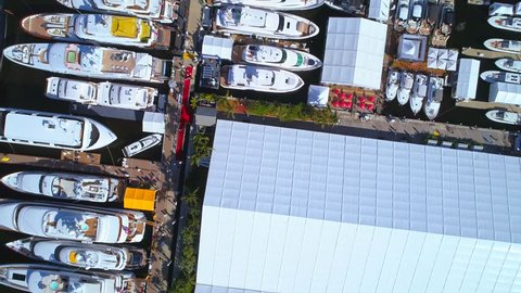 Overhead shot of boats aerial drone