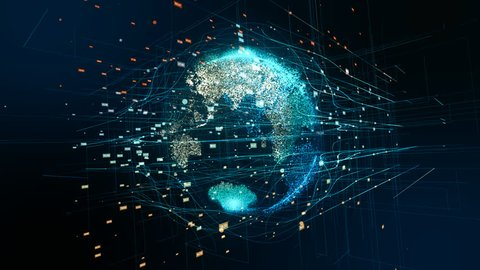 Earth technology, business and communications background loop. Animation of the Earth globe rotating with plexus particles around.