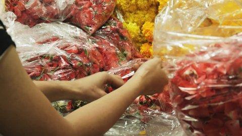 a female thai worker removes rose petals at pak khlong talat flower market in bangkok, thailand