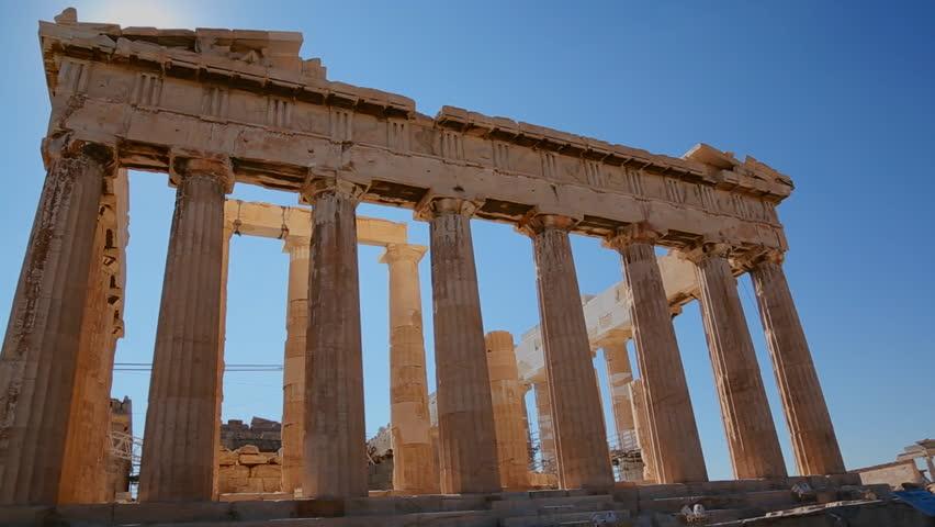 Timelapse Of The Parthenon Temple On Athenian Acropolis, Athens ...