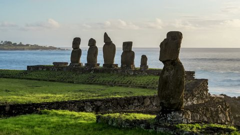 Moais in Tahai Archaeological Complex at sunset, Day to Night Timelapse, Rapa Nui National Park, Easter Island, Chile