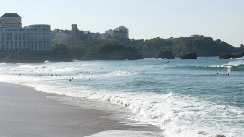 waves on the beach at Biarritz, in the south west of France