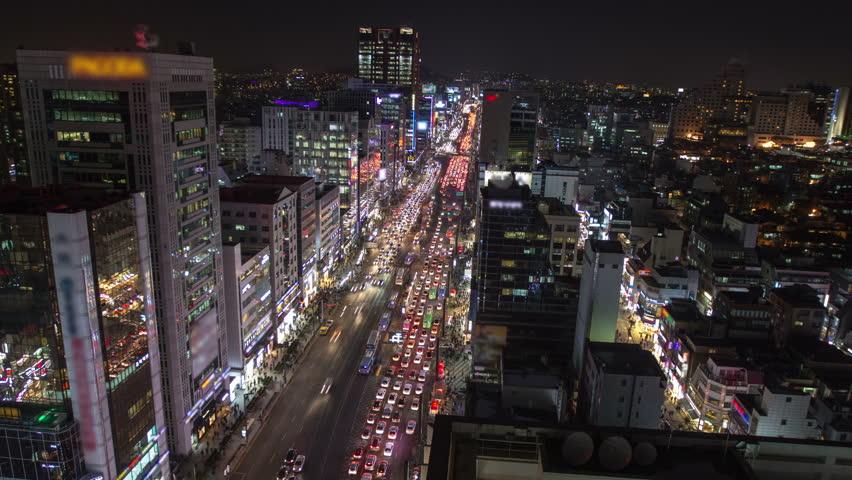 Seoul City 169) Time lapse of traffic in Seoul Korea.