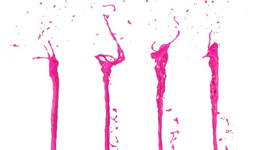 pink paint splashes in slow motion, isolated on white background (FULL HD)
