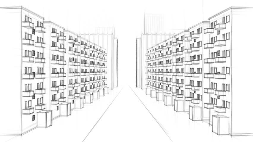 Architecture Drawing Of A City With Apartment Buildings On White Background FULL HD