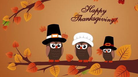 Thanksgiving greeting card with owls and autumn leaves