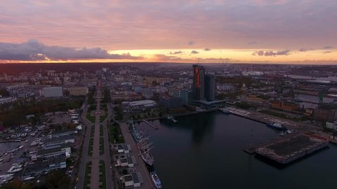 Gdynia, Poland - November 06 2017: Aerial view of the port of Gdynia in sunset