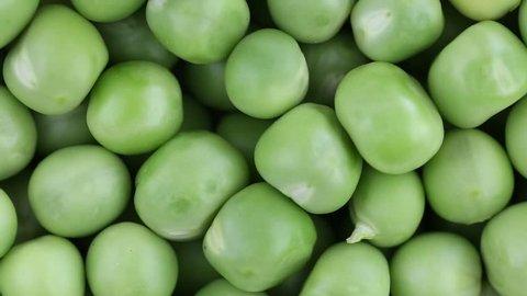 Fresh green pea rotate. Green pea clockwise rotation . Close up
