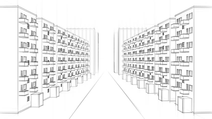 Apartment Building Drawing animated line drawing of a residential street with many apartment